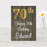 [ Thumbnail: 70th Birthday: Elegant Faux Gold Look #, False Woo Card ]