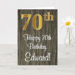 [ Thumbnail: 70th Birthday: Elegant Faux Gold Look #, Faux Wood Card ]