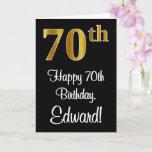 [ Thumbnail: 70th Birthday ~ Elegant Luxurious Faux Gold Look # Card ]