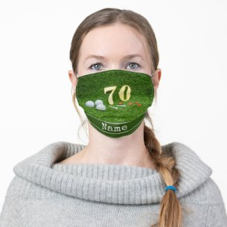 70th Birthday Face Mask for Golfer with golf ball