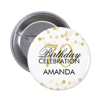 70th Birthday Faux Gold Foil Glitter Lights Pinback Button