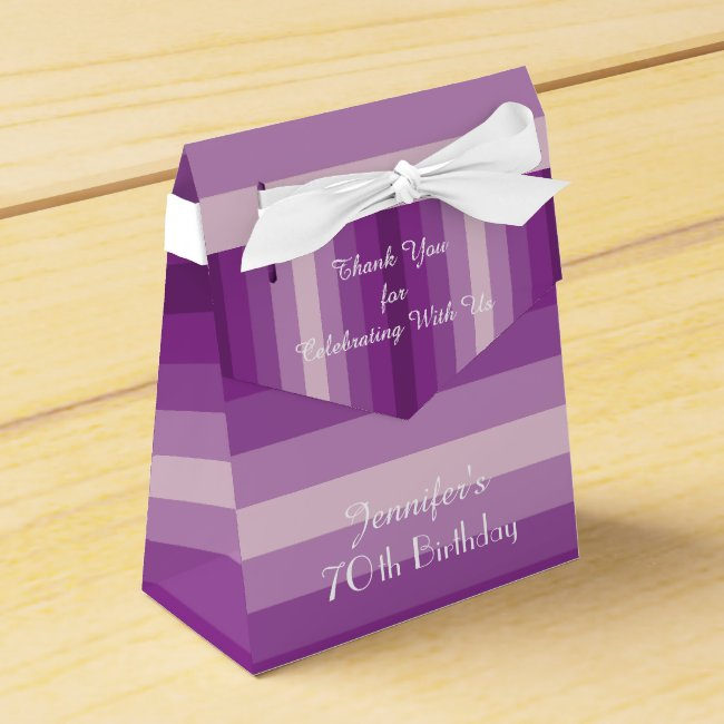 70th Birthday Favor Box, Purple Stripes