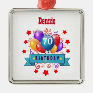 70th Birthday Festive Colorful Balloons C01FZ Metal Ornament