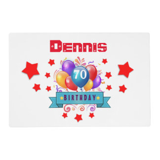 70th Birthday Festive Colorful Balloons C01FZ Placemat