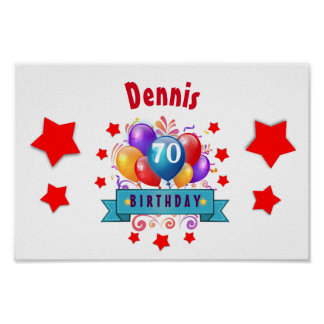 70th Birthday Festive Colorful Balloons C01FZ Poster