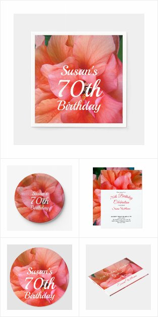 70th Birthday Flower Invitations Party Supplies