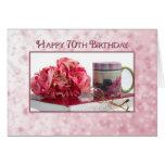 70th Birthday - For Lady - Pink Roses/Book/Mug Card