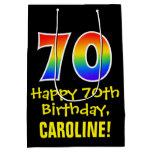 "[ Thumbnail: 70th Birthday: Fun, Bold, Colorful, Rainbow ""70"" Gift Bag ]"