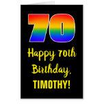 [ Thumbnail: 70th Birthday: Fun, Colorful, Happy, Rainbow # 70 Card ]