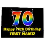 [ Thumbnail: 70th Birthday ~ Fun, Colorful, Vibrant, Rainbow 70 Gift Bag ]
