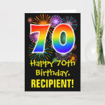 """70th Birthday: Fun Fireworks Pattern   Rainbow 70 Card<br><div class=""""desc"""">The front of this exciting, colorful, and fun birthday-themed greeting card design features a large number """"70"""" with a rainbow spectrum gradient inspired pattern, along with the message """"Happy 70th Birthday, """", and a custom recipient name. The front additionally features a colorful background pattern inspired by the look of bursting...</div>"""