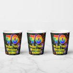 [ Thumbnail: 70th Birthday: Fun Fireworks Pattern + Rainbow 70 ]