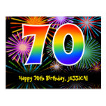 [ Thumbnail: 70th Birthday – Fun Fireworks Pattern + Rainbow 70 Postcard ]