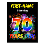 "[ Thumbnail: 70th Birthday - Fun Fireworks, Rainbow Look ""70"" Postcard ]"