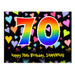[ Thumbnail: 70th Birthday: Fun Hearts Pattern, Rainbow 70 Postcard ]