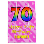 [ Thumbnail: 70th Birthday: Fun Pink Hearts Stripes; Rainbow 70 Gift Bag ]