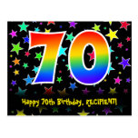[ Thumbnail: 70th Birthday: Fun Stars Pattern, Rainbow 70, Name Postcard ]