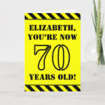 [ Thumbnail: 70th Birthday: Fun Stencil Style Text, Custom Name Card ]