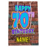 [ Thumbnail: 70th Birthday: Fun, Urban Graffiti Inspired Look Gift Bag ]