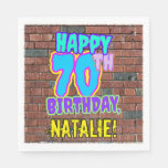 [ Thumbnail: 70th Birthday ~ Fun, Urban Graffiti Inspired Look Napkins ]