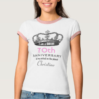 70th Birthday Funny I am a Queen Ringer Tee