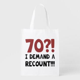 70th Birthday Gag Gift Grocery Bag