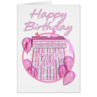 70th Birthday Gift Box - Pink - Happy Birthday Card