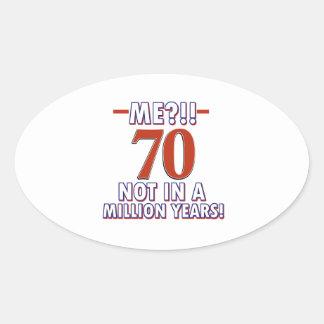 70th birthday gifts oval sticker