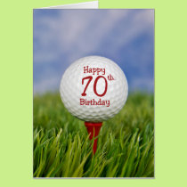 70th Birthday Golf Ball Card