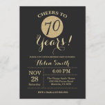 """70th Birthday Invitation Black and Gold Glitter<br><div class=""""desc"""">70th Birthday Invitation Black and Gold Glitter Card. For further customization,  please click the """"Customize it"""" button and use our design tool to modify this template.</div>"""
