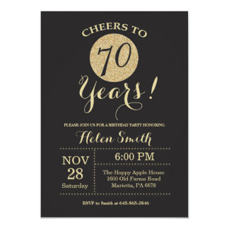 70th Birthday Invitation Black and Gold Glitter