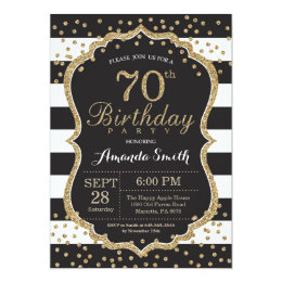 70th Birthday Invitation. Black and Gold Glitter Card
