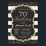 "70th Birthday Invitation. Black and Gold Glitter Invitation<br><div class=""desc"">70th Birthday Invitation for women or man. Black and Gold Birthday Party Invite. Gold Glitter Confetti. Black and White Stripes. Printable Digital. For further customization,  please click the &quot;Customize it&quot; button and use our design tool to modify this template.</div>"