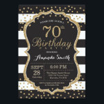 "70th Birthday Invitation. Black and Gold Glitter Invitation<br><div class=""desc"">70th Birthday Invitation for women or man. Black and Gold Birthday Party Invite. Gold Glitter Confetti. Black and White Stripes. Printable Digital. For further customization,  please click the ""Customize it"" button and use our design tool to modify this template.</div>"
