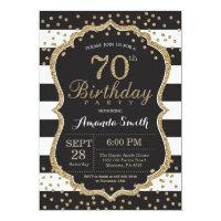 70th birthday invitations announcements zazzle 70th birthday invitation black and gold glitter filmwisefo