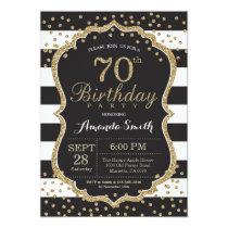 70th Birthday Invitation. Black and Gold Glitter Invitation