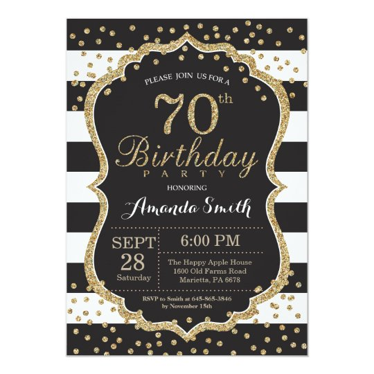 70th Birthday Invitation Black And Gold Glitter Invitation