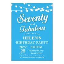 70th Birthday Invitation Blue Fabulous