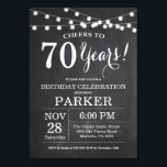 "70th Birthday Invitation Chalkboard<br><div class=""desc"">70th Birthday Invitation Chalkboard Background with String Lights. Black and White. 13th 15th 16th 18th 20th 21st 30th 40th 50th 60th 70th 80th 90th 100th, Any age. Adult Birthday. Woman or Man Male Birthday Party. For further customization, please click the ""Customize it"" button and use our design tool to modify...</div>"
