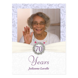 70th Birthday Invitation - Lavender Damask Sample Post Card
