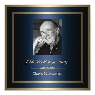 """70th Birthday Invitation - Photo 5.25"""" Square Invitation Card"""
