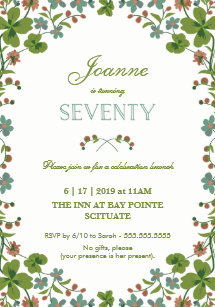 70th Birthday Invitation Seventieth Vintage Style