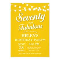 70th Birthday Invitation Yellow Fabulous