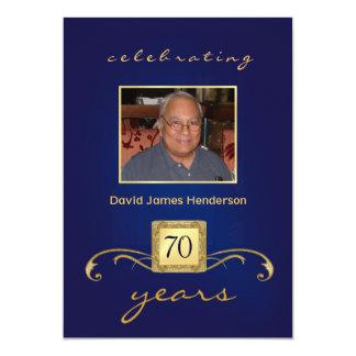 70th Birthday Invitations - Blue Monogram & Photo