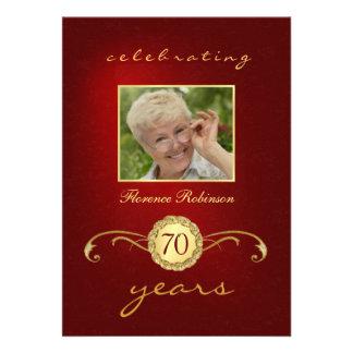70th Birthday Invitations - Red & Gold Monogram