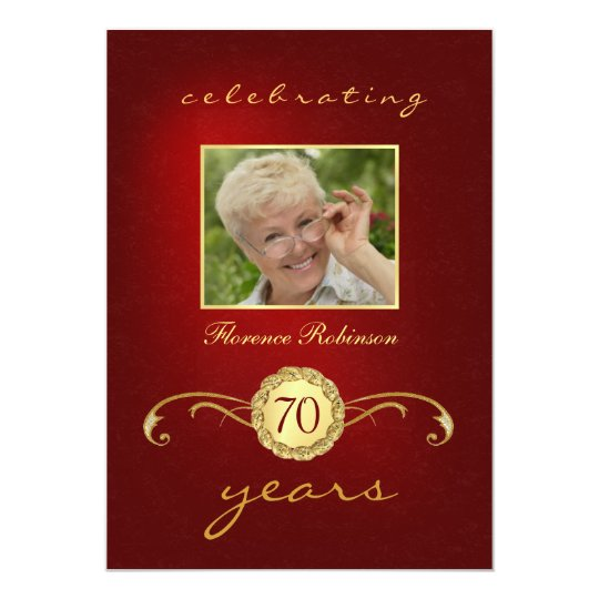 70th Birthday Invitations - Red & Gold Monogram