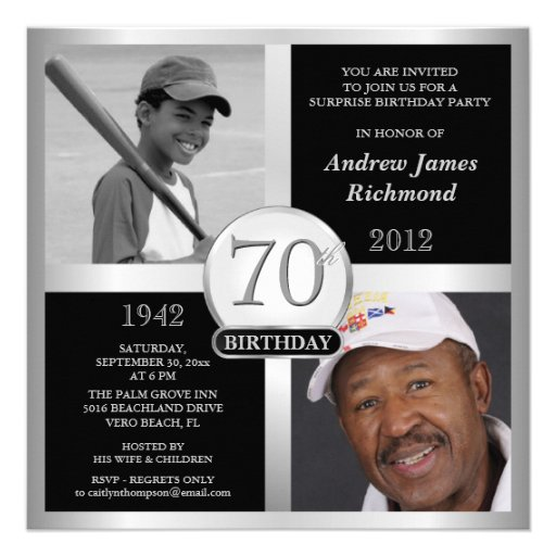 70th Birthday Invitations Then & Now Photos
