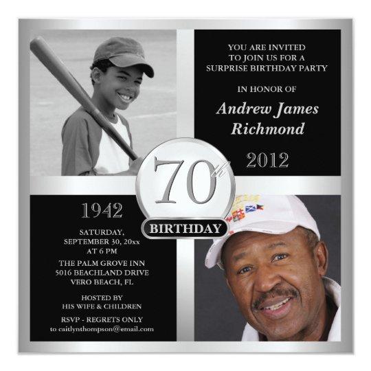 70th Birthday Invitations Then Now Photos