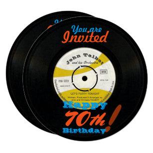 Vinyl record cards greeting photo cards zazzle 70th birthday invite retro vinyl record 45 rpm m4hsunfo