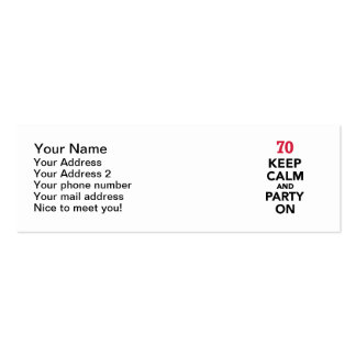 70th birthday Keep calm and party on Double-Sided Mini Business Cards (Pack Of 20)